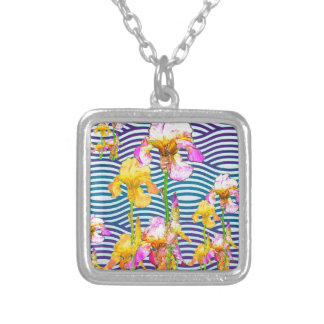 Yellow-Pink Iris Water Garden Silver Plated Necklace