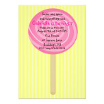 Yellow & Pink Lollipop Girls Birthday Invitation