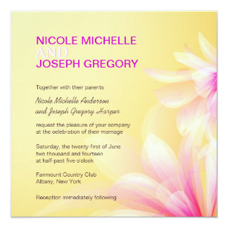 "Yellow Pink Modern Floral Wedding Invitations 5.25"" Square Invitation Card"