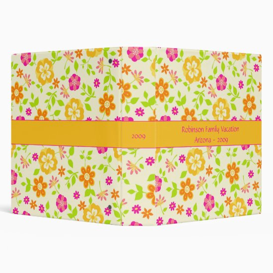 Yellow Pink Orange Floral Photo Album Binder