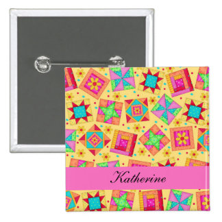 Yellow Pink Patchwork Quilt Blocks Name Badge Button