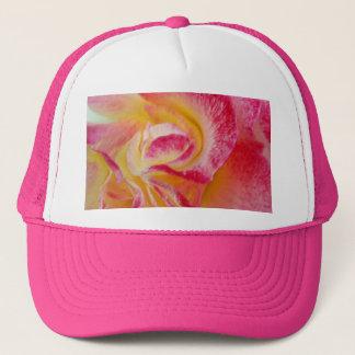yellow pink petals trucker hat