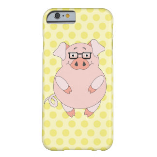 Yellow & Pink Polkadot Piggy Barely There iPhone 6 Case