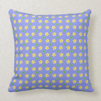 Yellow Pink, Primroses on Mauve, Green Polka Dots Throw Pillow