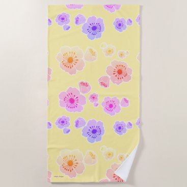 Beach Themed Yellow Pink Purple Floral Print Beach Towel