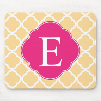 Yellow Pink Quatrefoil Monogram Mouse Pad