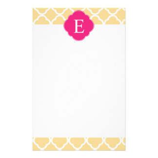 Yellow Pink Quatrefoil Monogram Stationery Paper