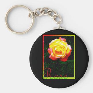 Yellow Pink Rose Basic Round Button Keychain