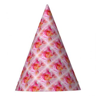 yellow pink Rose Party Hat