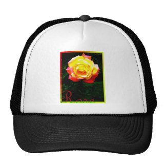 Yellow Pink Rose Trucker Hat