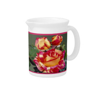 Yellow Pink Roses Pitcher