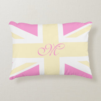 Yellow & Pink UK Flag / Union Jack | Monogram Accent Pillow
