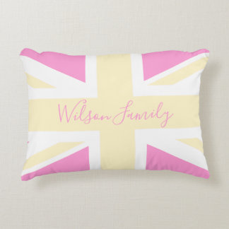 Yellow & Pink UK Flag / Union Jack | Personalised Accent Pillow