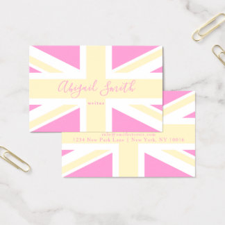 Yellow & Pink UK Flag / Union Jack | Personalised Business Card