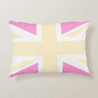 Yellow & Pink United Kingdom Flag / Union Jack Accent Pillow