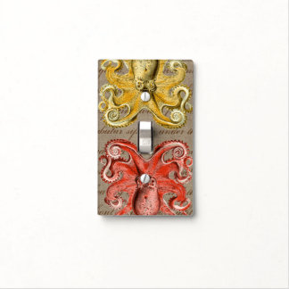Yellow & Pink Vintage Sea Creatures Octopus Light Switch Cover