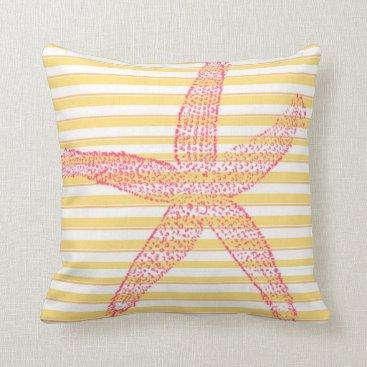 Beach Themed Yellow Pink White Stripe Starfish Throw Pillow