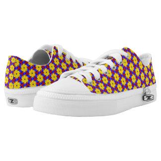 Yellow Pinwheel-like Design on Women's Sneakers