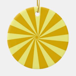 Yellow Pinwheel Sun Beams Ceramic Ornament