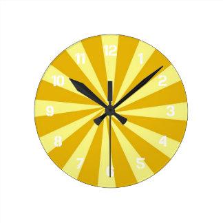Yellow Pinwheel Sun Beams Clock
