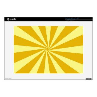 "Yellow Pinwheel Sun Beams Decal For 15"" Laptop"