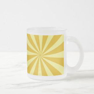 Yellow Pinwheel Sun Beams Frosted Glass Coffee Mug