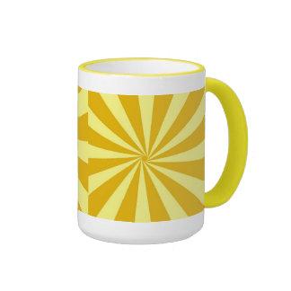 Yellow Pinwheel Sun Beams Ringer Mug