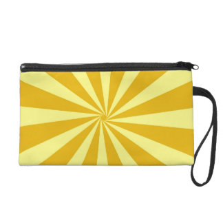 Yellow Pinwheel Sun Beams Wristlet Clutches