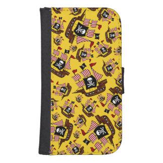 Yellow pirate ship pattern galaxy s4 wallets