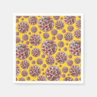 Yellow pizza pie disposable napkin