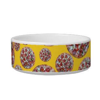 Yellow pizza pie pet bowls