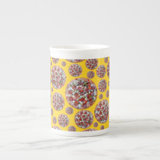 Yellow pizza pie bone china mugs
