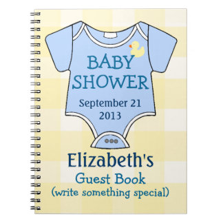 Yellow Plaid and Blue Baby Shower Guest Book Spiral Notebook