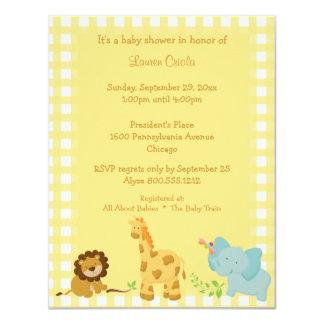 Yellow Plaid Baby Animals Baby Shower Invitation