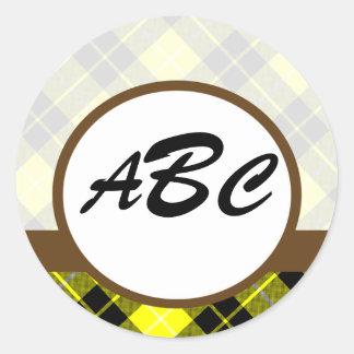 Yellow Plaid Custom Monogrammed Classic Round Sticker