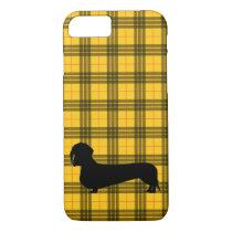 Yellow Plaid Dachshund Pattern Preppy iPhone 8/7 Case