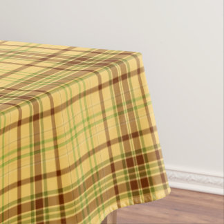 Perfect Yellow Plaid Fabric Pattern Tablecloth