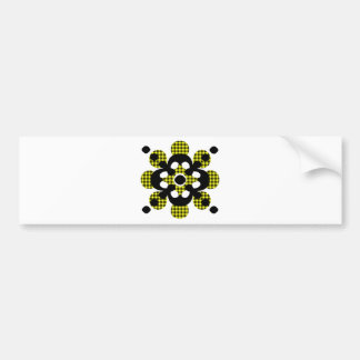 Yellow Plaid Flower With Black Flower Bumper Sticker