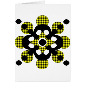 Yellow Plaid Flower With Black Flower Greeting Card