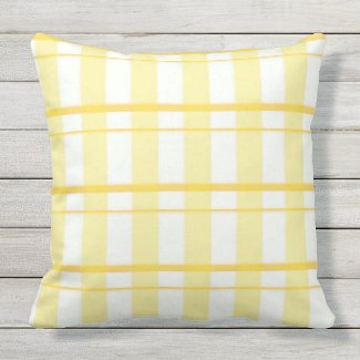 """Yellow Plaid Outdoor Pillow 20"""" x 20"""""""