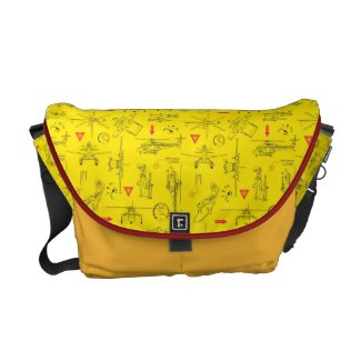 Yellow Planes Pattern Messenger Bags