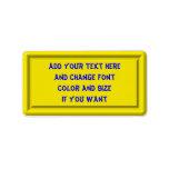 Yellow Plastic Label template Address Label