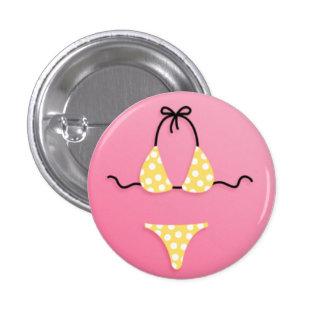Yellow Plka Dot Bikini 1 Inch Round Button