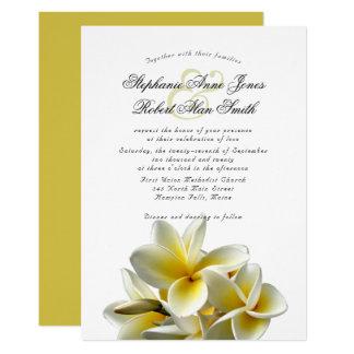 Yellow Plumeria Hawaiian Flower Wedding Invitation