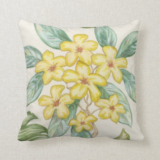 Yellow Plumeria pillow