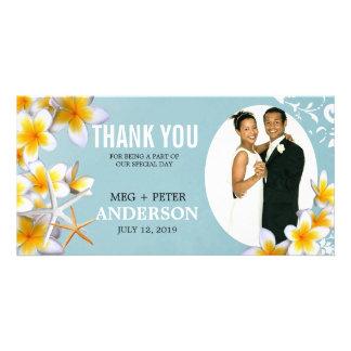 Yellow Plumeria Starfish Wedding Photo Thank You Personalized Photo Card