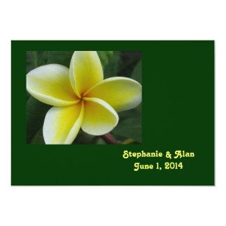 Yellow Plumeria Wedding Invitation