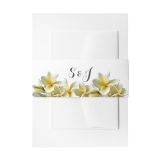 Yellow Plumeria Wedding Monogram Belly Band
