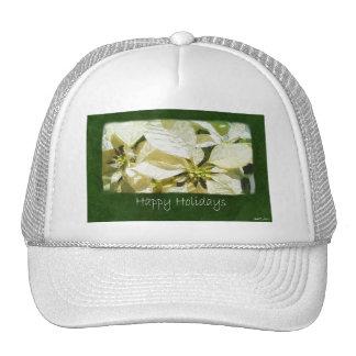 Yellow Poinsettias 2 - Happy Holidays Mesh Hat
