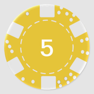 Yellow Poker Chip Classic Round Sticker